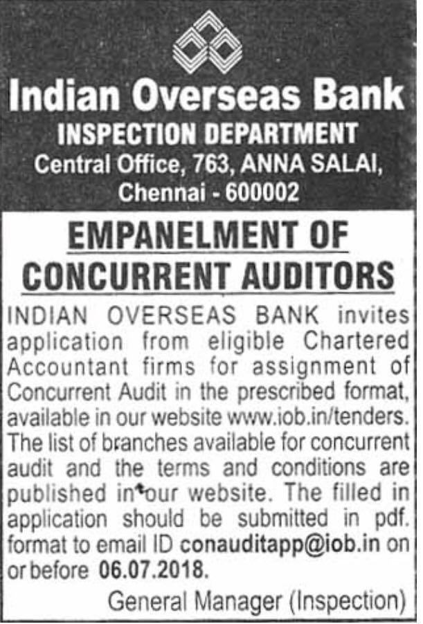 Indian Overseas Bank invite applications for Empanelment of